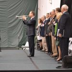 State Senator Mark Messmer playing the National Anthem on trumpet during opening ceremonies at the 2016 Buy Indiana Expo.